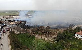 Biyokütle enerji tesisindeki yangında 30 bin ton ham madde kül oldu