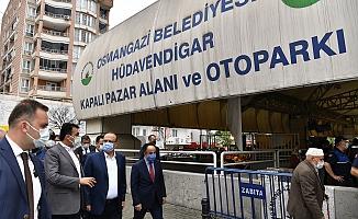 Bursa Osmangazi'de Pazarlara Sıkı Denetim; Vali, Kaymakam ve Belediye Başkanı Pazarları Denetledi