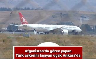 Afganistan'da görev yapan Türk askerini taşıyan uçak Ankara'da