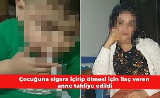 Çocuğuna sigara içirip ölmesi için ilaç veren anne tahliye edildi