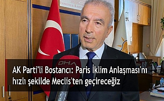 AK Parti'li Bostancı: Paris İklim Anlaşması'nı hızlı şekilde Meclis'ten geçireceğiz