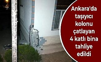 Ankara'da taşıyıcı kolonu çatlayan 4 katlı bina tahliye edildi