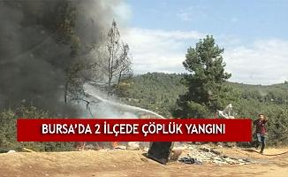 Bursa'da 2 ilçede çöplük yangını